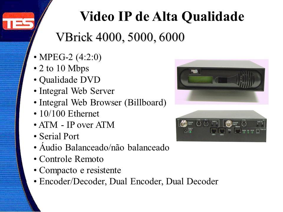 VBrick 4000, 5000, 6000 MPEG-2 (4:2:0) 2 to 10 Mbps Qualidade DVD Integral Web Server Integral Web Browser (Billboard) 10/100 Ethernet ATM - IP over A