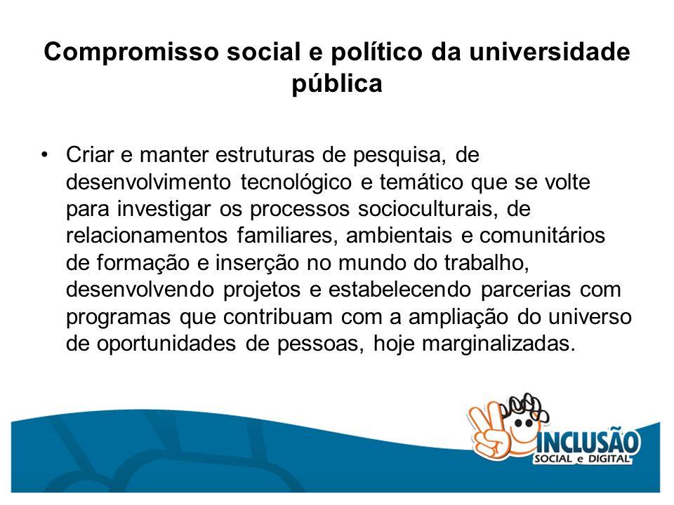 Compromisso social e político da universidade pública Criar e manter estruturas de pesquisa, de desenvolvimento tecnológico e temático que se volte pa