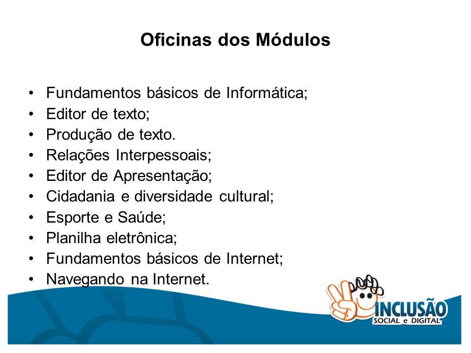 Oficinas dos Módulos Fundamentos básicos de Informática; Editor de texto; Produção de texto. Relações Interpessoais; Editor de Apresentação; Cidadania