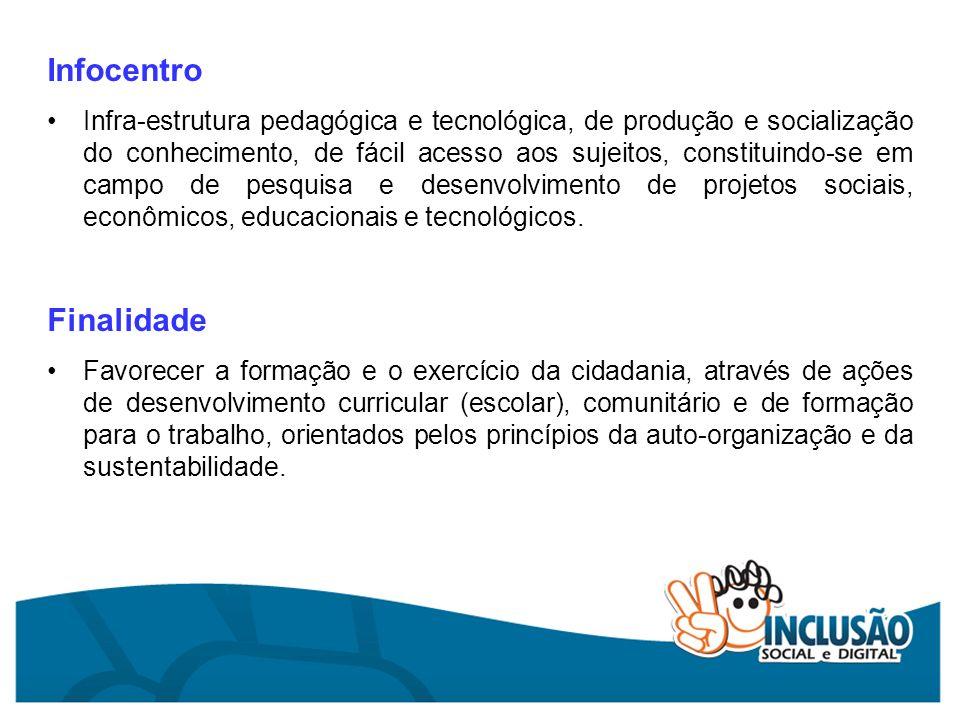 Infocentro Infra-estrutura pedagógica e tecnológica, de produção e socialização do conhecimento, de fácil acesso aos sujeitos, constituindo-se em camp