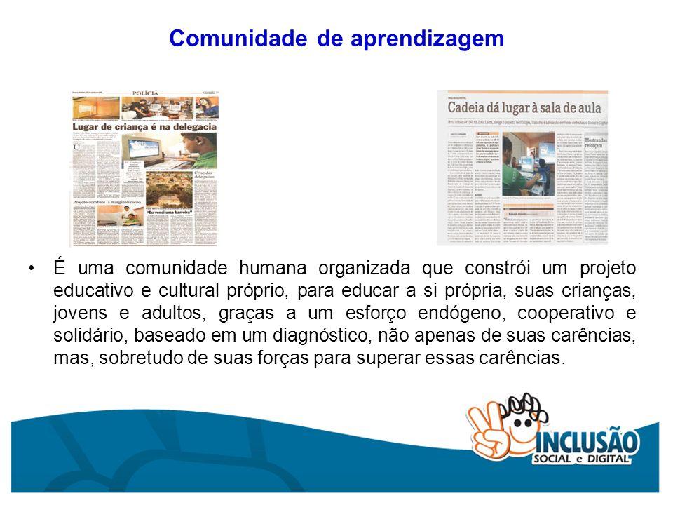 Comunidade de aprendizagem É uma comunidade humana organizada que constrói um projeto educativo e cultural próprio, para educar a si própria, suas cri
