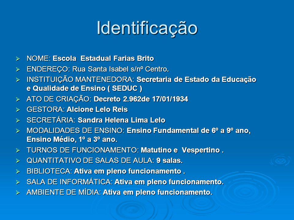 Identificação NOME: Escola Estadual Farias Brito NOME: Escola Estadual Farias Brito ENDEREÇO: Rua Santa Isabel s/nº Centro. ENDEREÇO: Rua Santa Isabel