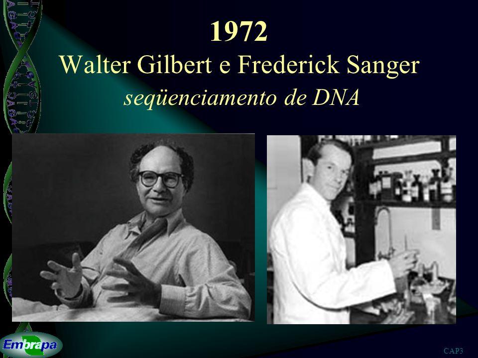 CAP3 1972 Walter Gilbert e Frederick Sanger seqüenciamento de DNA