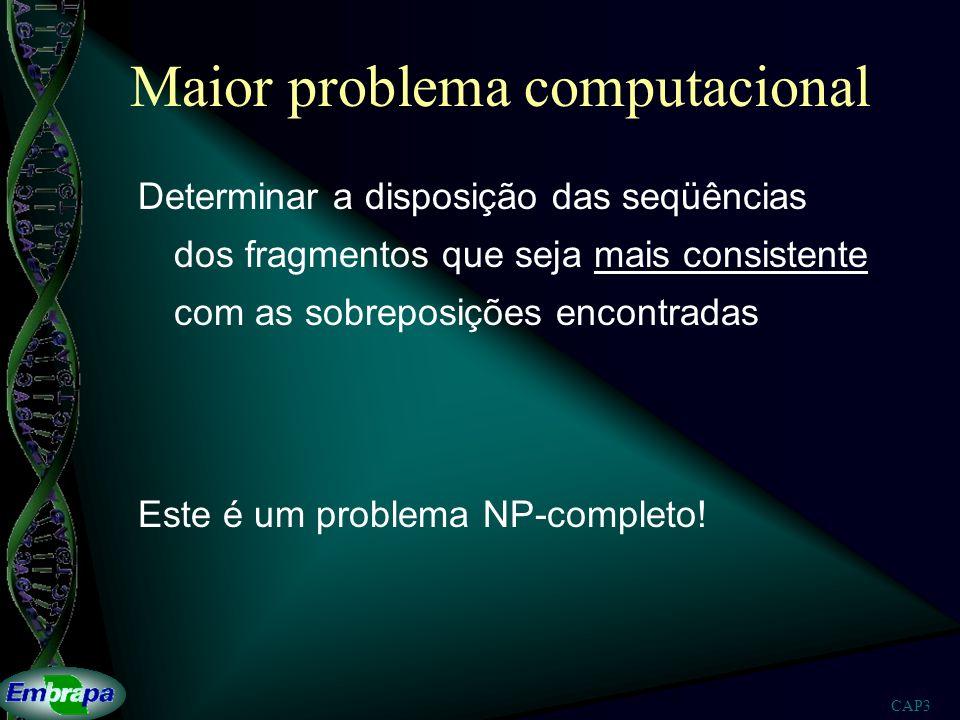 CAP3 Maior problema computacional Determinar a disposição das seqüências dos fragmentos que seja mais consistente com as sobreposições encontradas Est