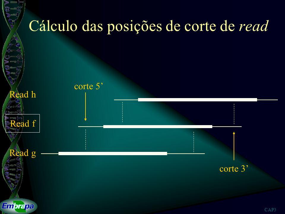 CAP3 Cálculo das posições de corte de read corte 5 corte 3 Read h Read f Read g