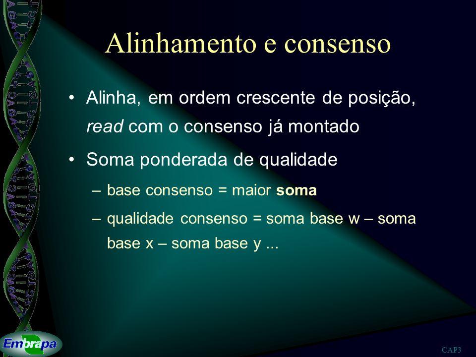 CAP3 Alinhamento e consenso Alinha, em ordem crescente de posição, read com o consenso já montado Soma ponderada de qualidade –base consenso = maior s