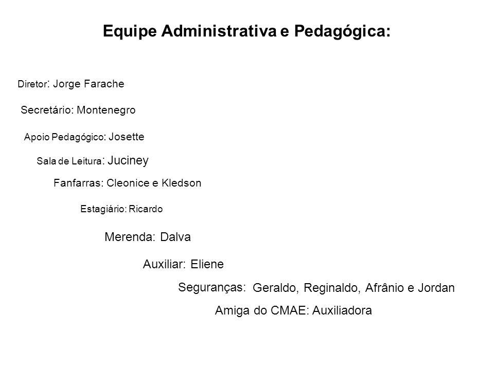 Equipe Administrativa e Pedagógica: Secretário: Montenegro Sala de Leitura : Juciney Diretor : Jorge Farache Apoio Pedagógico : Josette Estagiário: Ri