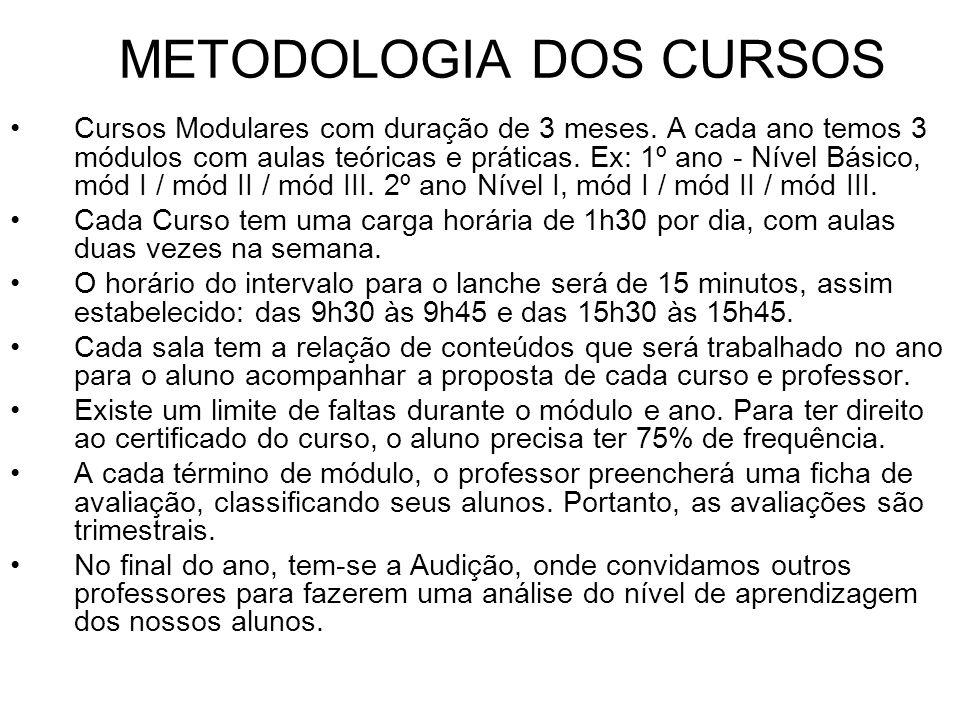 METODOLOGIA DOS CURSOS Cursos Modulares com duração de 3 meses. A cada ano temos 3 módulos com aulas teóricas e práticas. Ex: 1º ano - Nível Básico, m