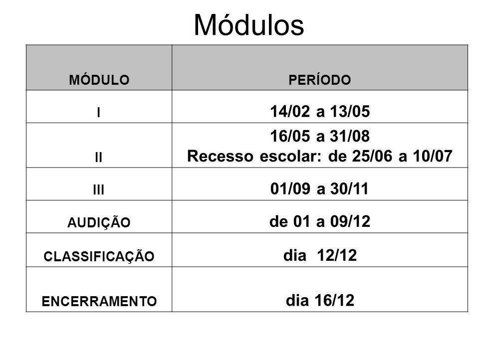 MÓDULOPERÍODO I 14/02 a 13/05 II 16/05 a 31/08 Recesso escolar: de 25/06 a 10/07 III 01/09 a 30/11 AUDIÇÃO de 01 a 09/12 CLASSIFICAÇÃO dia 12/12 ENCER