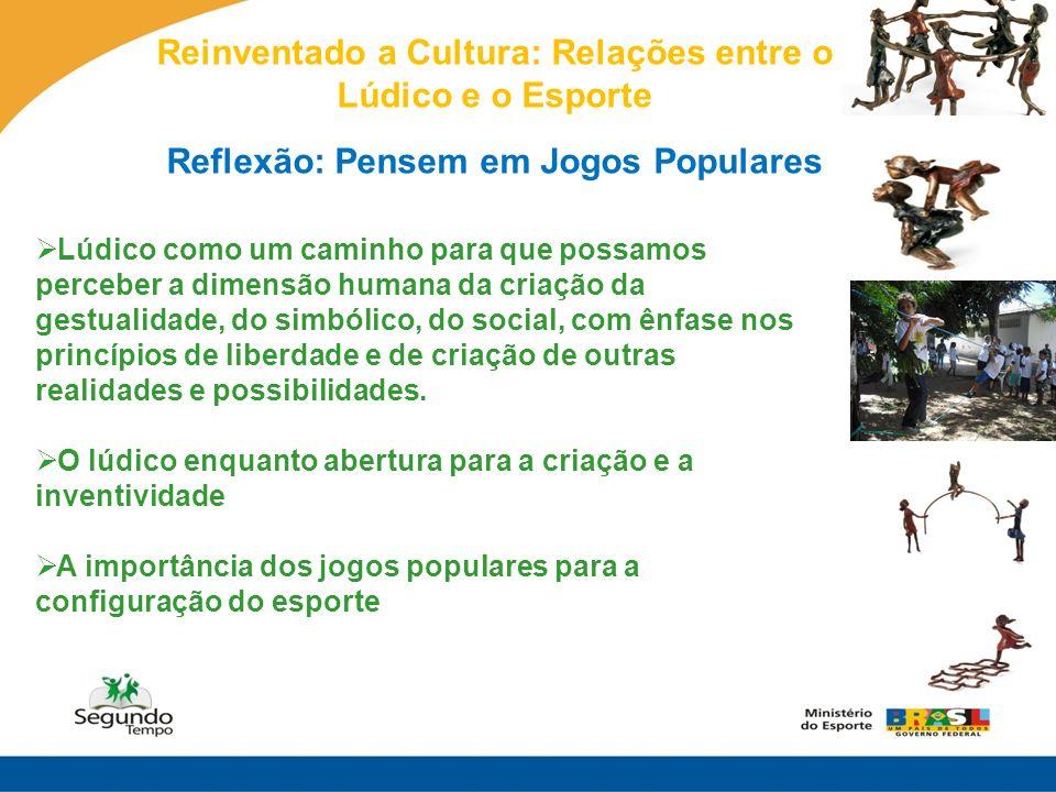 Reinventado a Cultura: Relações entre o Lúdico e o Esporte Reflexão: Pensem em Jogos Populares Lúdico como um caminho para que possamos perceber a dim