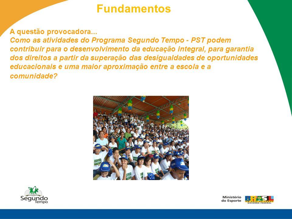 Fundamentos A questão provocadora... Como as atividades do Programa Segundo Tempo - PST podem contribuir para o desenvolvimento da educação integral,