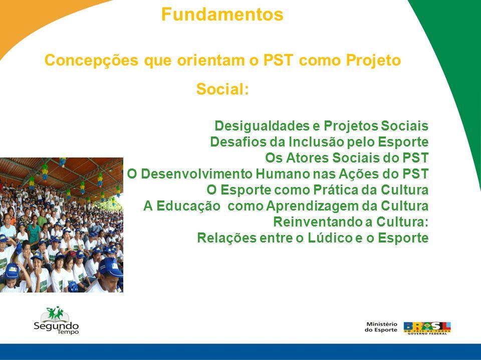 Fundamentos Concepções que orientam o PST como Projeto Social: Desigualdades e Projetos Sociais Desafios da Inclusão pelo Esporte Os Atores Sociais do