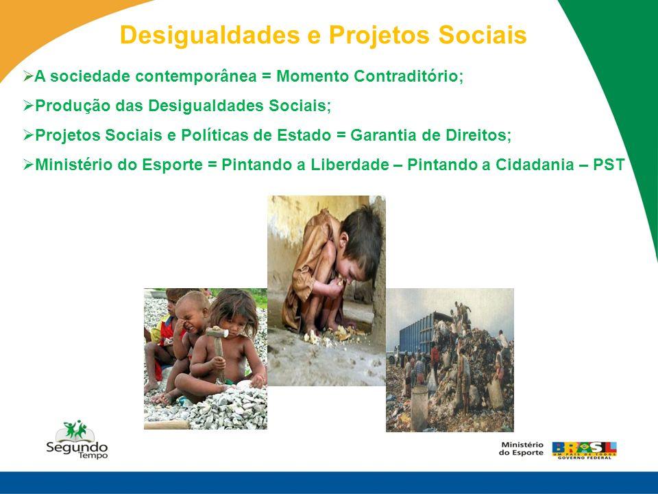 Desigualdades e Projetos Sociais A sociedade contemporânea = Momento Contraditório; Produção das Desigualdades Sociais; Projetos Sociais e Políticas d