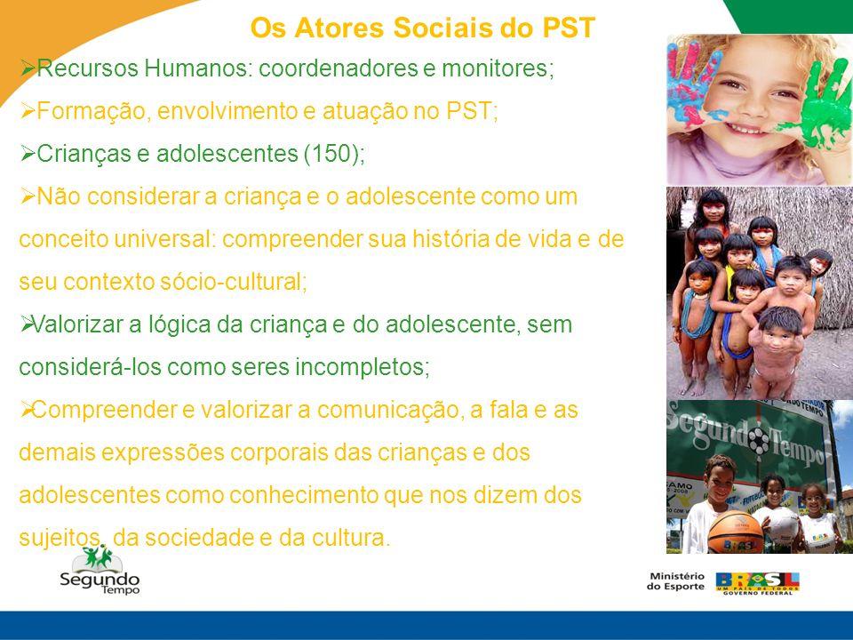 Os Atores Sociais do PST Recursos Humanos: coordenadores e monitores; Formação, envolvimento e atuação no PST; Crianças e adolescentes (150); Não cons