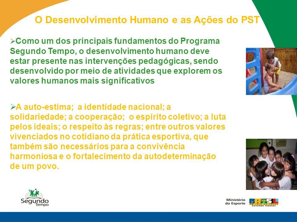 O Desenvolvimento Humano e as Ações do PST Como um dos principais fundamentos do Programa Segundo Tempo, o desenvolvimento humano deve estar presente