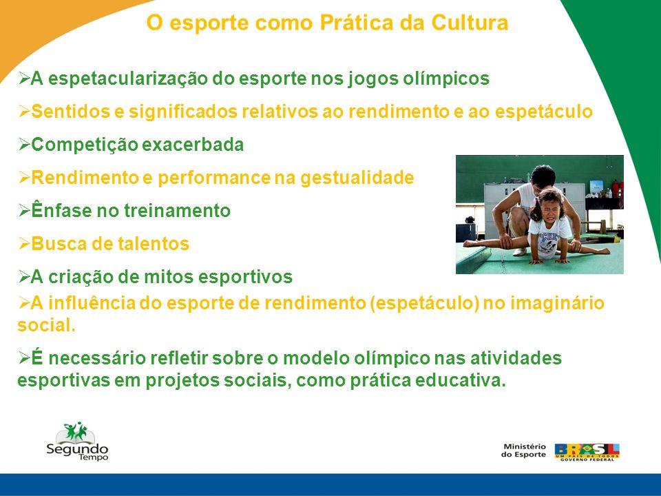 O esporte como Prática da Cultura A espetacularização do esporte nos jogos olímpicos Sentidos e significados relativos ao rendimento e ao espetáculo C