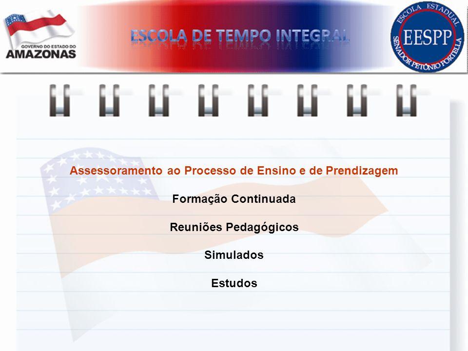 Assessoramento ao Processo de Ensino e de Prendizagem Formação Continuada Reuniões Pedagógicos Simulados Estudos