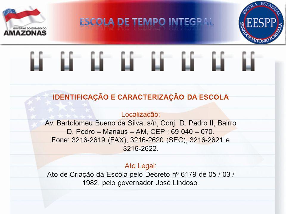 IDENTIFICAÇÃO E CARACTERIZAÇÃO DA ESCOLA Localização: Av. Bartolomeu Bueno da Silva, s/n, Conj. D. Pedro II, Bairro D. Pedro – Manaus – AM, CEP : 69 0