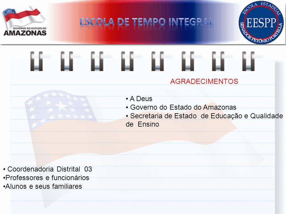 AGRADECIMENTOS A Deus Governo do Estado do Amazonas Secretaria de Estado de Educação e Qualidade de Ensino Coordenadoria Distrital 03 Professores e fu