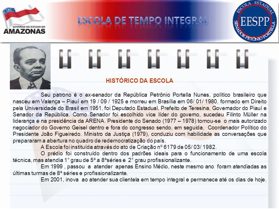 HISTÓRICO DA ESCOLA Seu patrono é o ex-senador da República Petrônio Portella Nunes, político brasileiro que nasceu em Valença – Piauí em 19 / 09 / 19