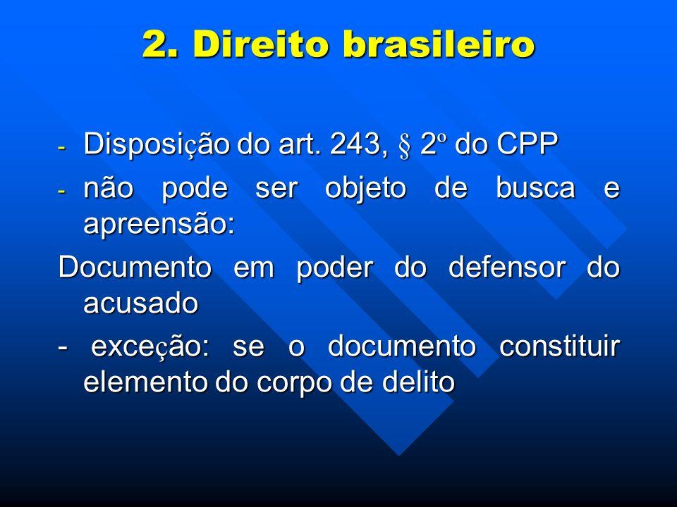 2. Direito brasileiro - Disposi ç ão do art. 243, § 2 º do CPP - não pode ser objeto de busca e apreensão: Documento em poder do defensor do acusado -
