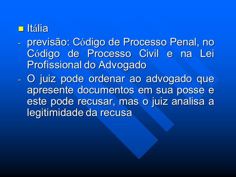 It á lia It á lia - previsão: C ó digo de Processo Penal, no C ó digo de Processo Civil e na Lei Profissional do Advogado - O juiz pode ordenar ao adv