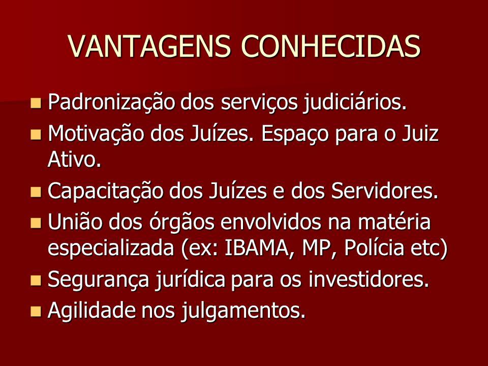 VANTAGENS CONHECIDAS Padronização dos serviços judiciários. Padronização dos serviços judiciários. Motivação dos Juízes. Espaço para o Juiz Ativo. Mot