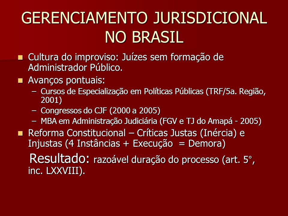 GERENCIAMENTO JURISDICIONAL NO BRASIL Cultura do improviso: Juízes sem formação de Administrador Público. Cultura do improviso: Juízes sem formação de