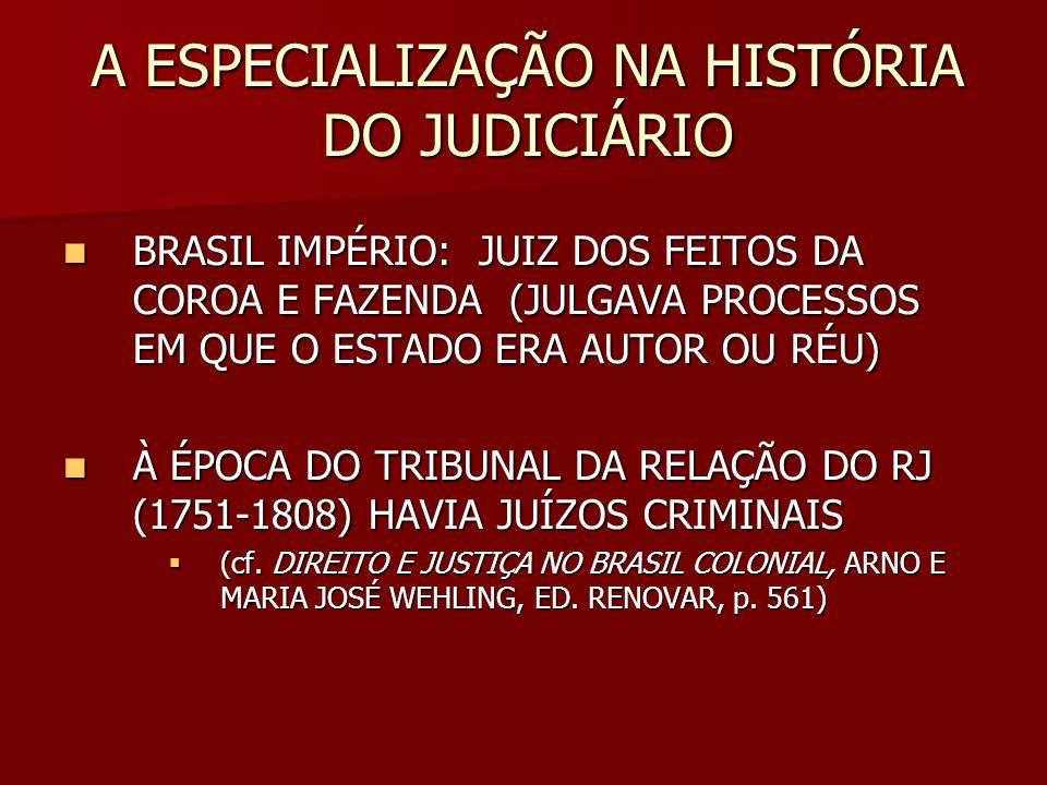 A ESPECIALIZAÇÃO NA HISTÓRIA DO JUDICIÁRIO BRASIL IMPÉRIO: JUIZ DOS FEITOS DA COROA E FAZENDA (JULGAVA PROCESSOS EM QUE O ESTADO ERA AUTOR OU RÉU) BRA
