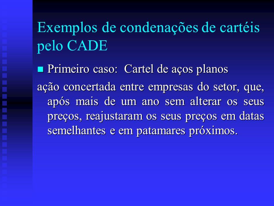Exemplos de condenações de cartéis pelo CADE Primeiro caso: Cartel de aços planos Primeiro caso: Cartel de aços planos ação concertada entre empresas