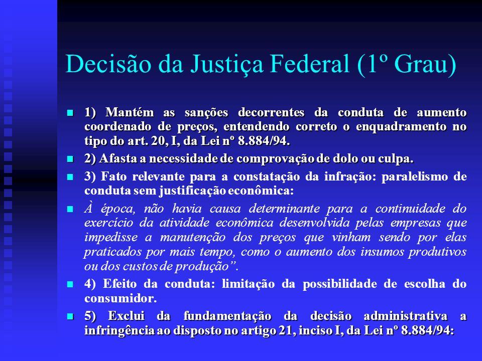 Decisão da Justiça Federal (1º Grau) 1) Mantém as sanções decorrentes da conduta de aumento coordenado de preços, entendendo correto o enquadramento n