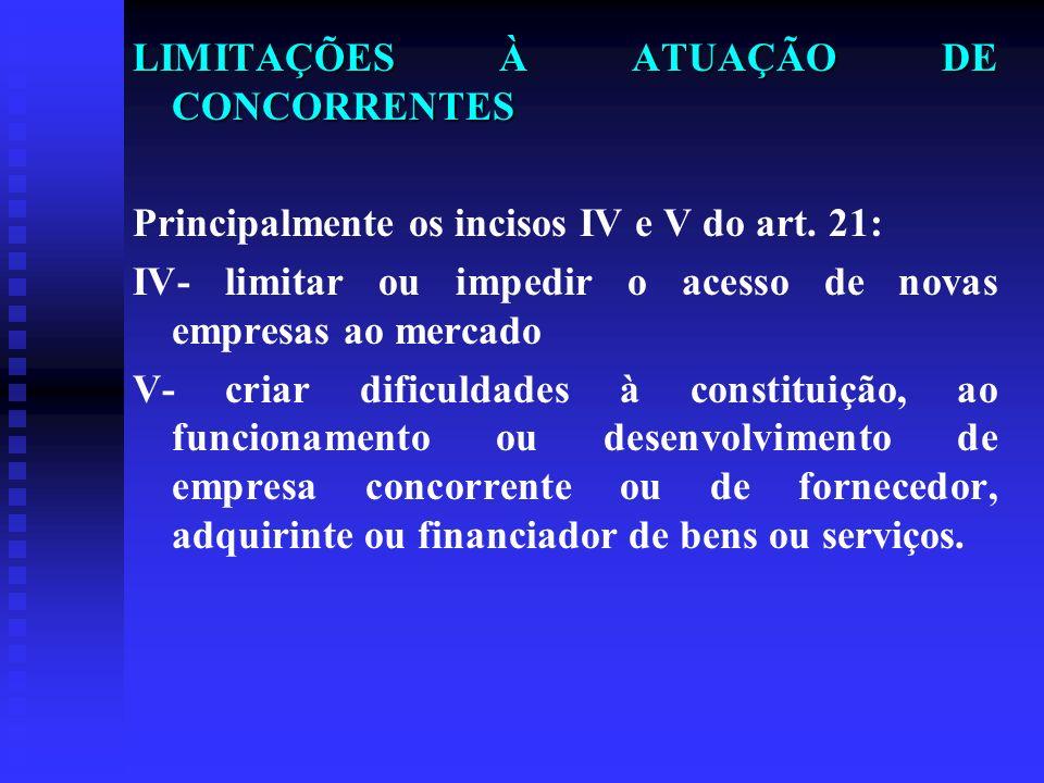 LIMITAÇÕES À ATUAÇÃO DE CONCORRENTES Principalmente os incisos IV e V do art. 21: IV- limitar ou impedir o acesso de novas empresas ao mercado V- cria
