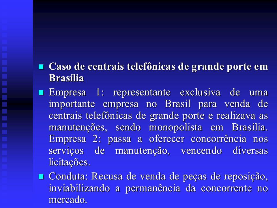 Caso de centrais telefônicas de grande porte em Brasília Caso de centrais telefônicas de grande porte em Brasília Empresa 1: representante exclusiva d