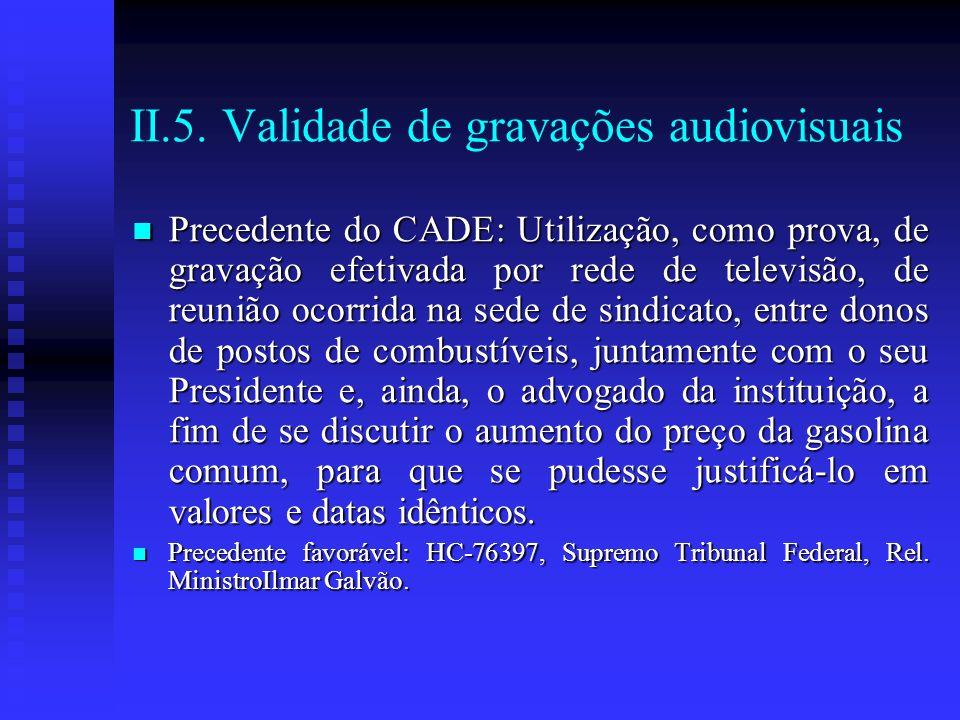 II.5. Validade de gravações audiovisuais Precedente do CADE: Utilização, como prova, de gravação efetivada por rede de televisão, de reunião ocorrida