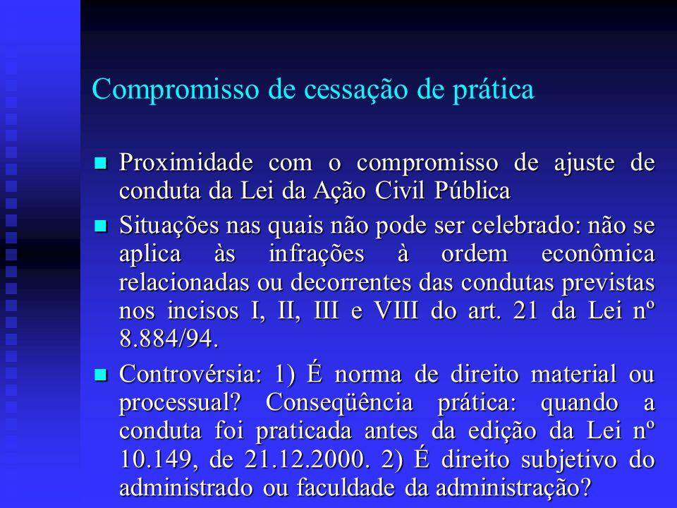 Compromisso de cessação de prática Proximidade com o compromisso de ajuste de conduta da Lei da Ação Civil Pública Proximidade com o compromisso de aj