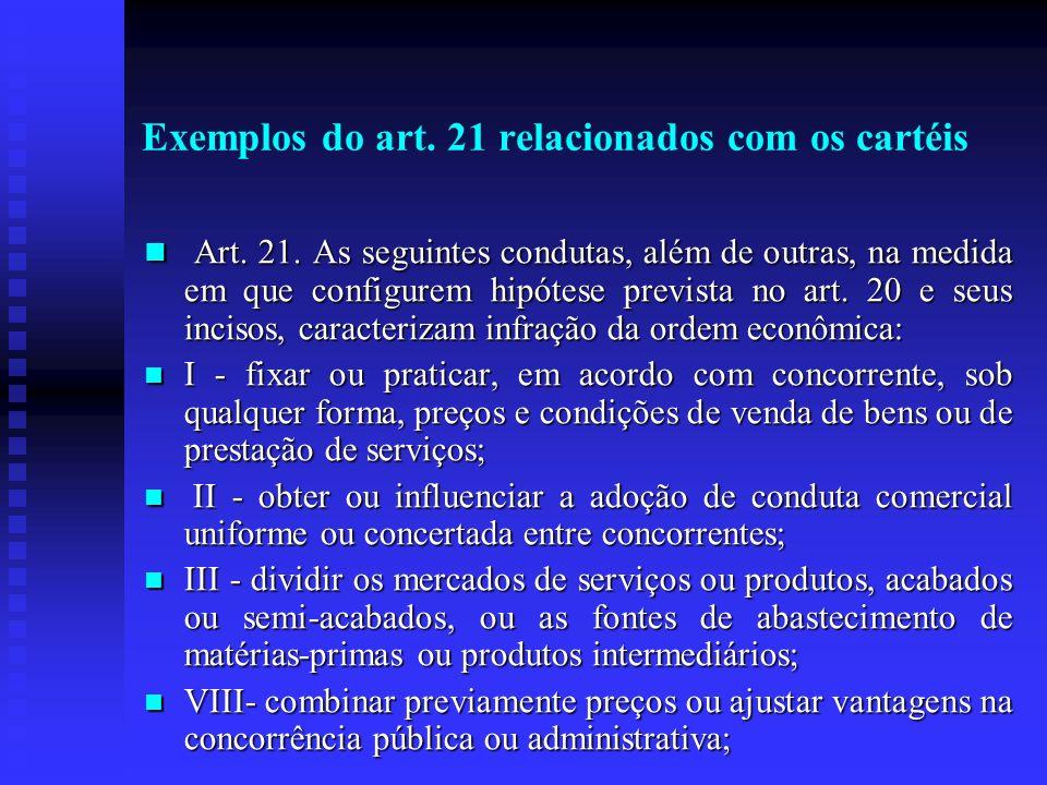 Exemplos do art. 21 relacionados com os cartéis Art. 21. As seguintes condutas, além de outras, na medida em que configurem hipótese prevista no art.