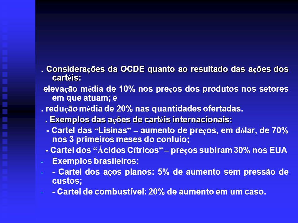 Considera ç ões da OCDE quanto ao resultado das a ç ões dos cart é is:. Considera ç ões da OCDE quanto ao resultado das a ç ões dos cart é is: eleva ç
