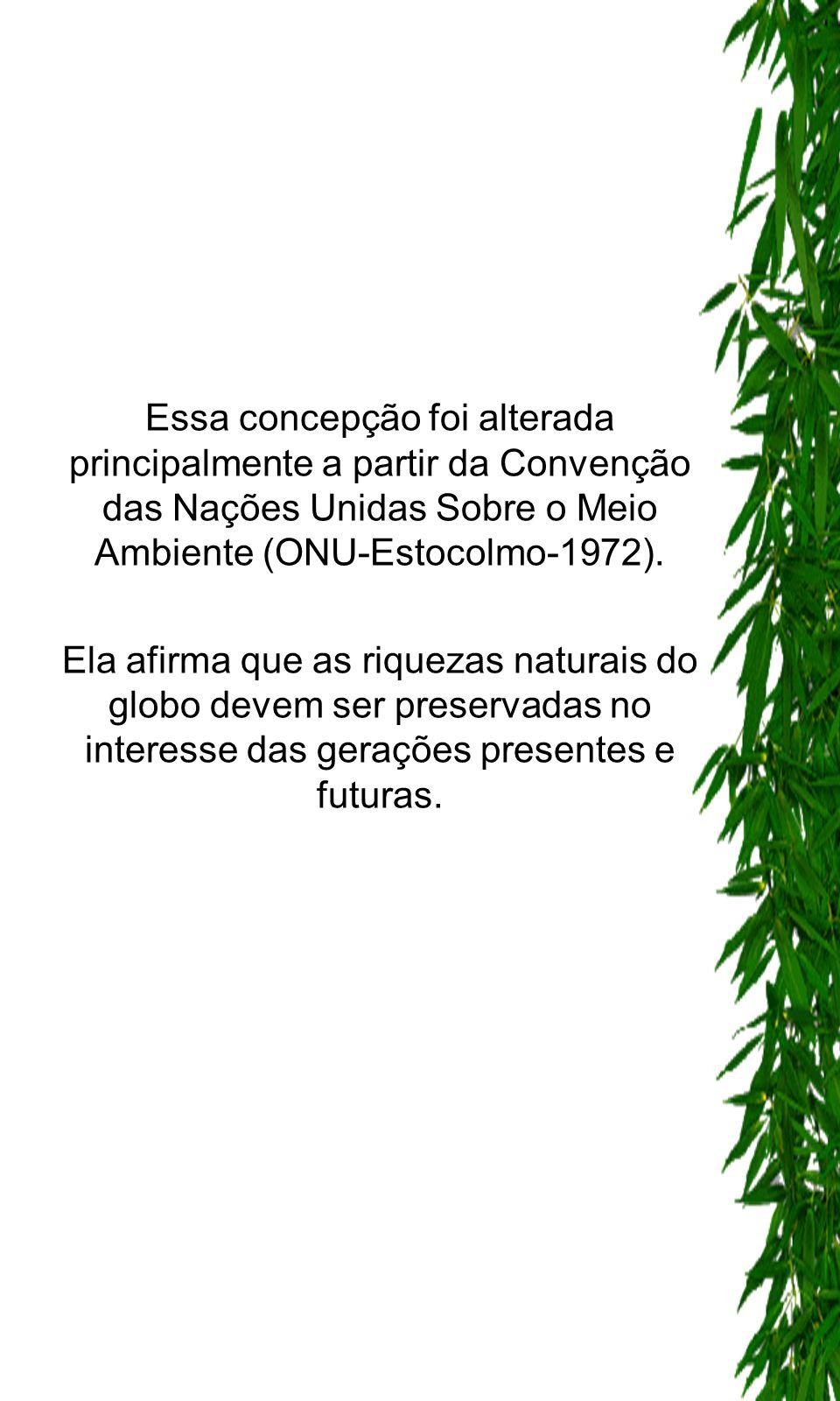 Essa concepção foi alterada principalmente a partir da Convenção das Nações Unidas Sobre o Meio Ambiente (ONU-Estocolmo-1972). Ela afirma que as rique