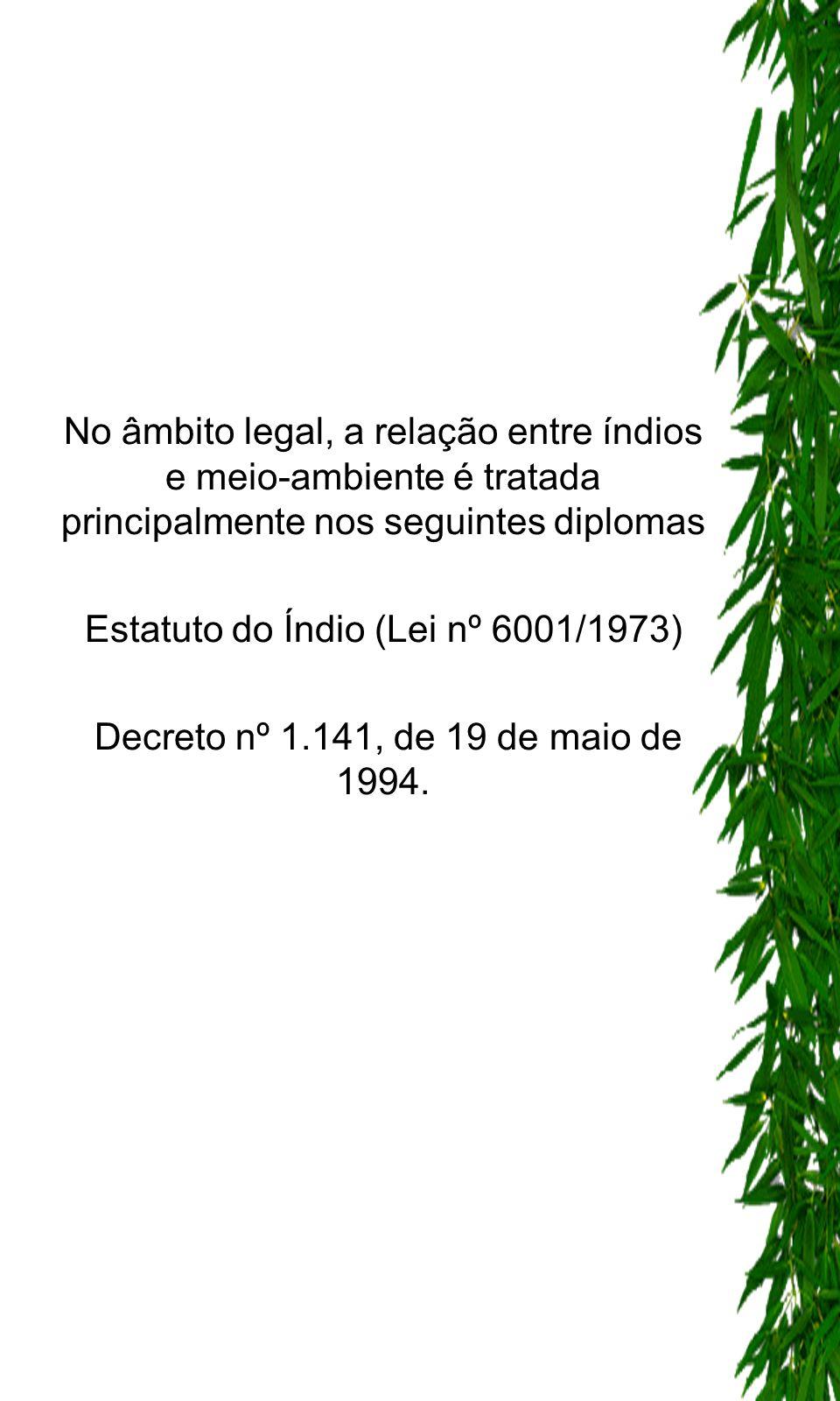 No âmbito legal, a relação entre índios e meio-ambiente é tratada principalmente nos seguintes diplomas Estatuto do Índio (Lei nº 6001/1973) Decreto n
