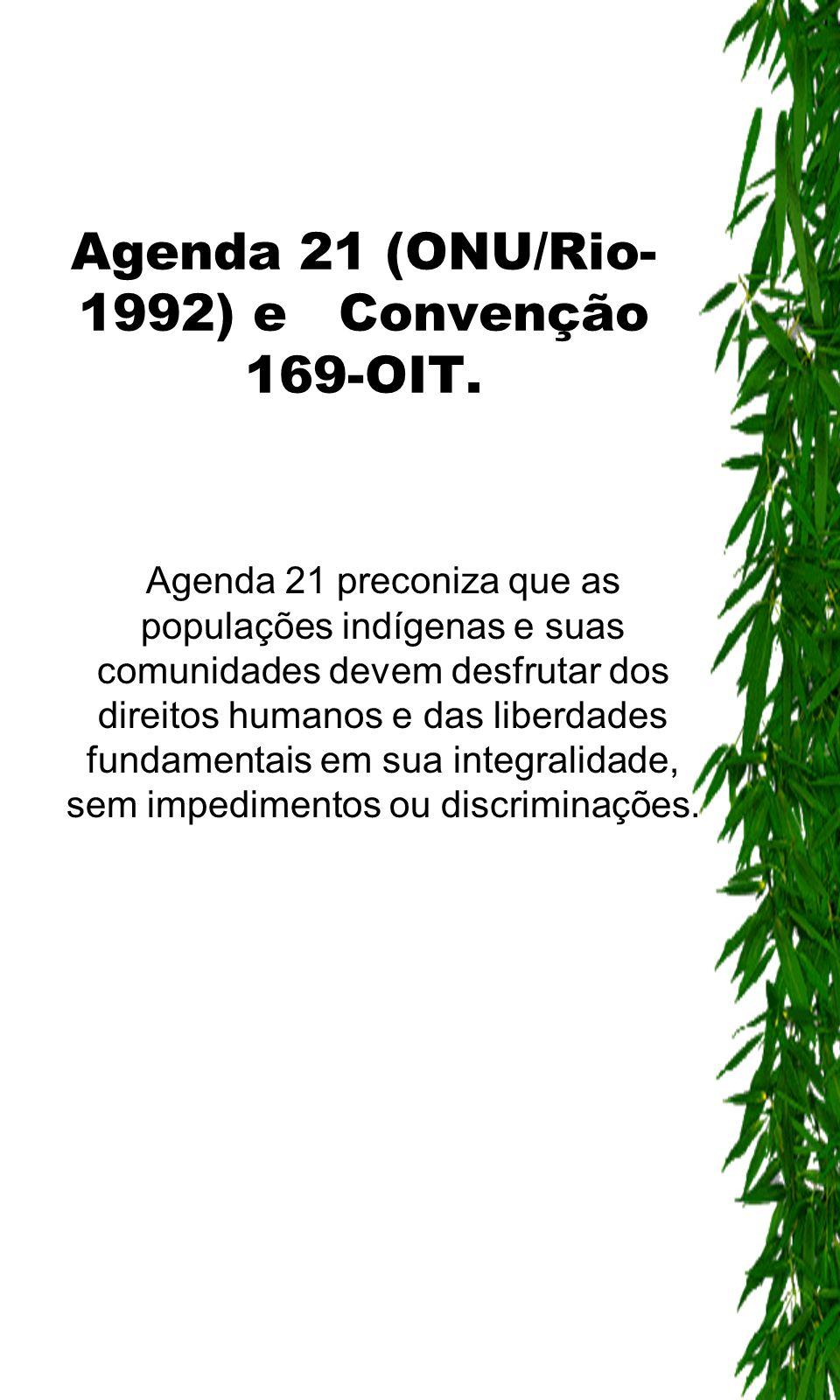 Agenda 21 (ONU/Rio- 1992) e Convenção 169-OIT. Agenda 21 preconiza que as populações indígenas e suas comunidades devem desfrutar dos direitos humanos