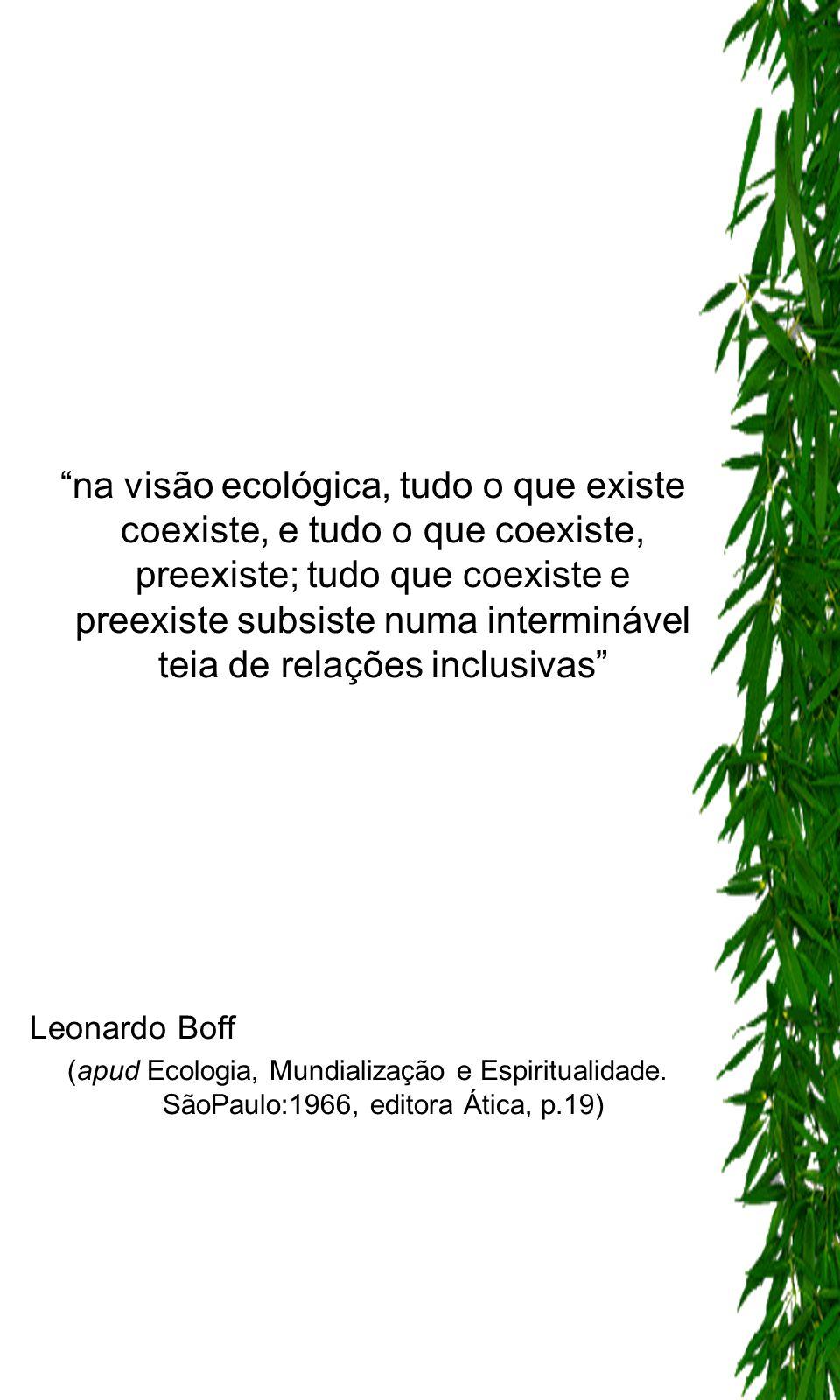 na visão ecológica, tudo o que existe coexiste, e tudo o que coexiste, preexiste; tudo que coexiste e preexiste subsiste numa interminável teia de rel