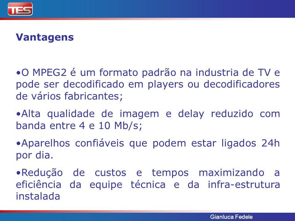 Gianluca Fedele Vantagens O MPEG2 é um formato padrão na industria de TV e pode ser decodificado em players ou decodificadores de vários fabricantes; Alta qualidade de imagem e delay reduzido com banda entre 4 e 10 Mb/s; Aparelhos confiáveis que podem estar ligados 24h por dia.