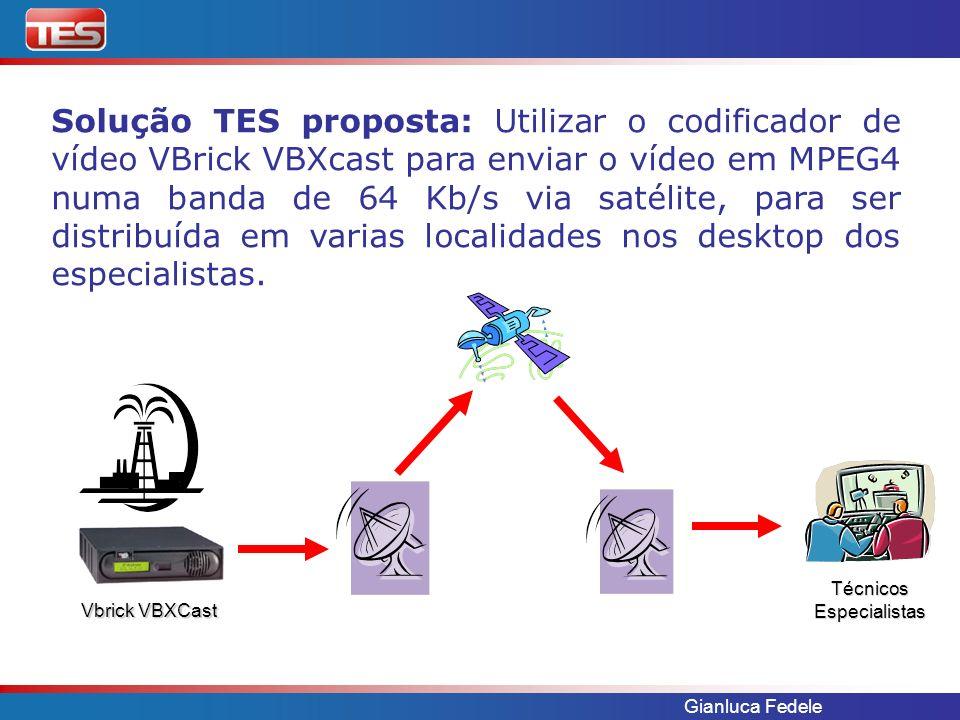 Gianluca Fedele Solução TES proposta: Utilizar o codificador de vídeo VBrick VBXcast para enviar o vídeo em MPEG4 numa banda de 64 Kb/s via satélite,