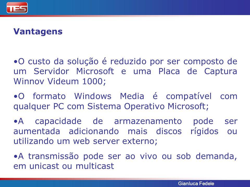 Gianluca Fedele Vantagens O custo da solução é reduzido por ser composto de um Servidor Microsoft e uma Placa de Captura Winnov Videum 1000; O formato