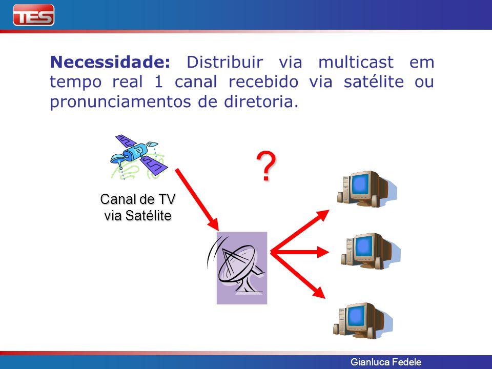 Gianluca Fedele Necessidade: Distribuir via multicast em tempo real 1 canal recebido via satélite ou pronunciamentos de diretoria. Canal de TV via Sat
