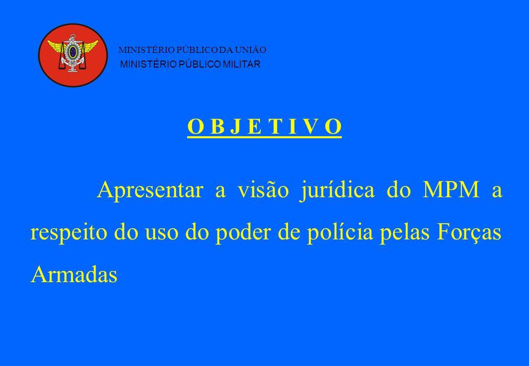 MINISTÉRIO PÚBLICO DA UNIÃO O B J E T I V O MINISTÉRIO PÚBLICO MILITAR Apresentar a visão jurídica do MPM a respeito do uso do poder de polícia pelas Forças Armadas