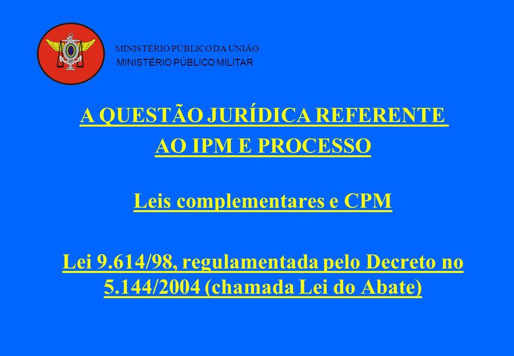 Leis complementares e CPM Lei 9.614/98, regulamentada pelo Decreto no 5.144/2004 (chamada Lei do Abate) MINISTÉRIO PÚBLICO DA UNIÃO MINISTÉRIO PÚBLICO