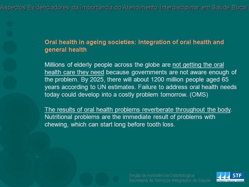 Seção de Assistência Odontológica Secretaria de Serviços Integrados de Saúde Aspectos Evidenciadores da Importância do Atendimento Interdisciplinar em