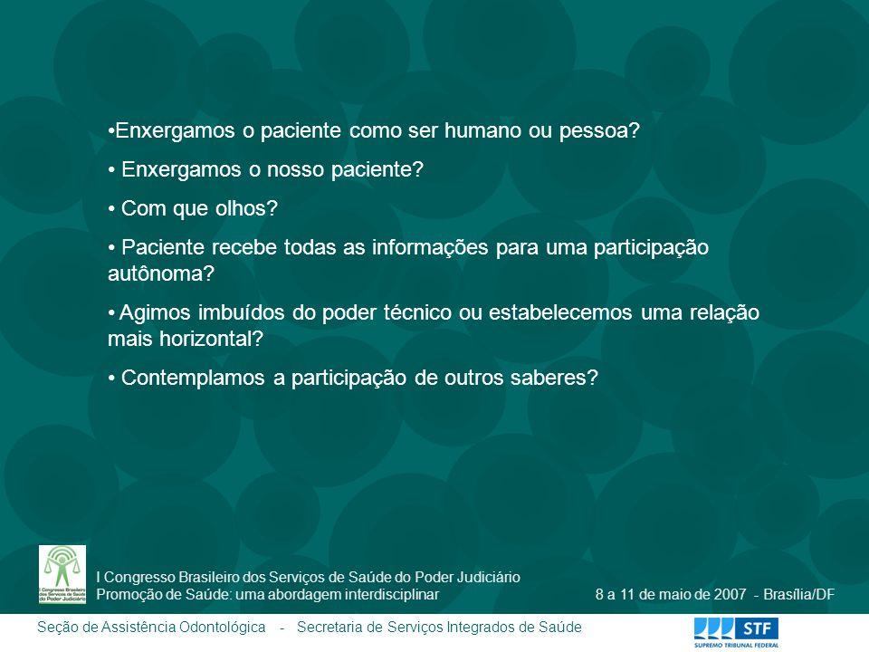 Seção de Assistência Odontológica - Secretaria de Serviços Integrados de Saúde I Congresso Brasileiro dos Serviços de Saúde do Poder Judiciário Promoç
