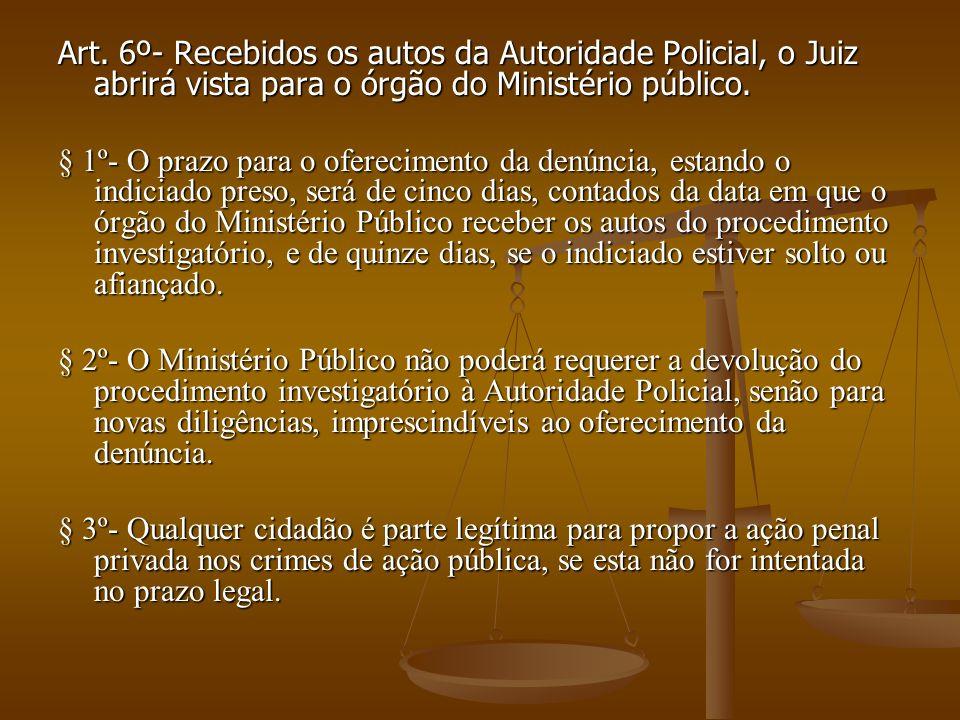 Art. 6º- Recebidos os autos da Autoridade Policial, o Juiz abrirá vista para o órgão do Ministério público. § 1º- O prazo para o oferecimento da denún